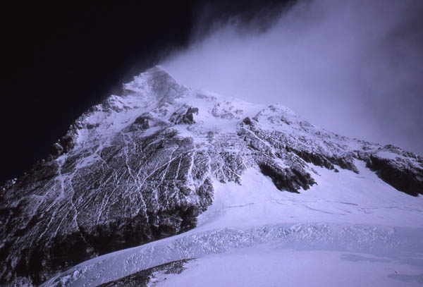 High winds continue to batter Everest's upper reaches, morning 11 May 1996. Photograph taken from the South Col